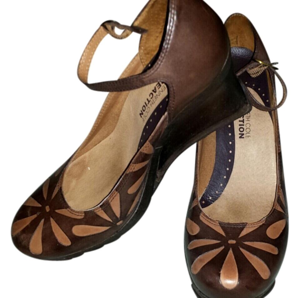 b5be58f151d Kenneth Cole Reaction Brown Vintage Wooden Leather Wedges Size US 7 ...