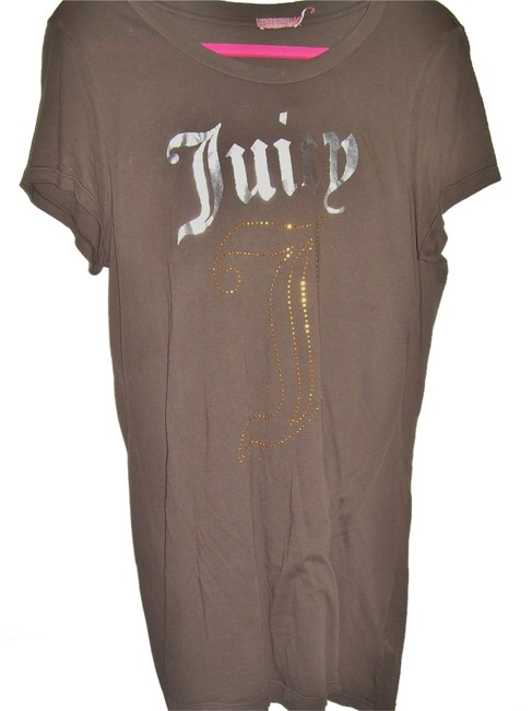 """Item - Brown with """"Juicy"""" In Silver and """"J"""" In Gold Studs Tee Shirt Size 16 (XL, Plus 0x)"""