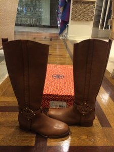 Tory Burch Leather Logo Equestrian Ridingboot Caramel Boots