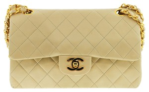 Chanel Double Flap Lambskin Leather Double Flap Shoulder Bag