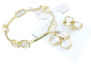 Kate Spade Kate Spade Crystal And Gold Jeweled Matching Earrings And Bracelet Set New