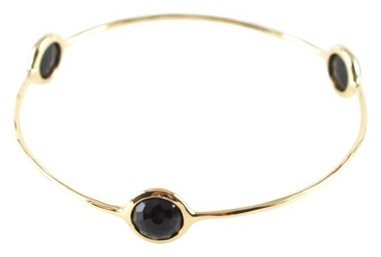 Ippolita IPPOLITA 18K YELLOW GOLD 3 STONE BLACK ONYX BANGLE