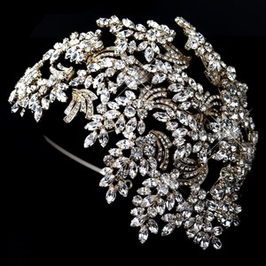 Elegance By Carbonneau Gold Dramatic Gatsby Style Rhinestone Wedding Headband