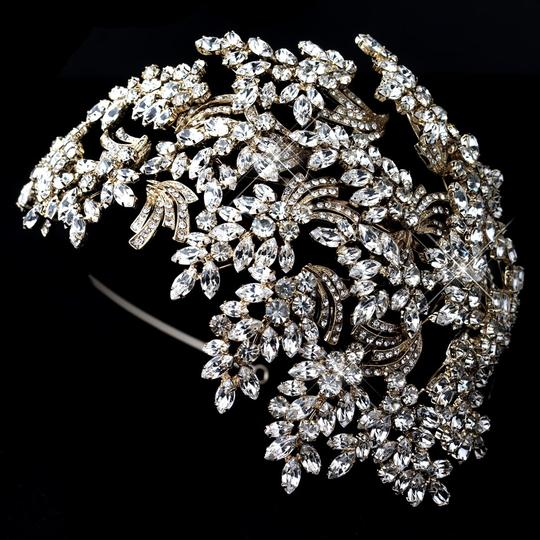 Elegance by Carbonneau Gold Dramatic Crystal Great Gatsby Style Headband Hair Accessory