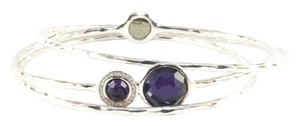 Ippolita IPPOLITA STERLING SILVER PURPLE & DIAMOND BANGLE BRACELET TRIO SET