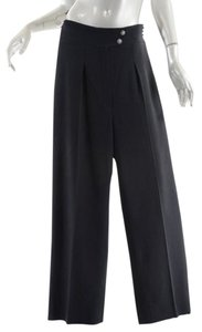 Chanel High Waisted Drop Pleats Flare Pants Black
