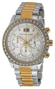 Michael Kors Two Tone Silver and Gold CRysta Accent Casual Designer Watch