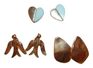 Bar III Bar III Set of 3 Gold Tone Stud Earrings Bird, Blue Heart NWT $29.50