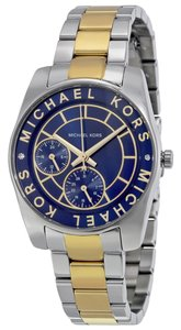Michael Kors Two Tone Gold and Silver Navy Blue Casual Sport Designer Watch