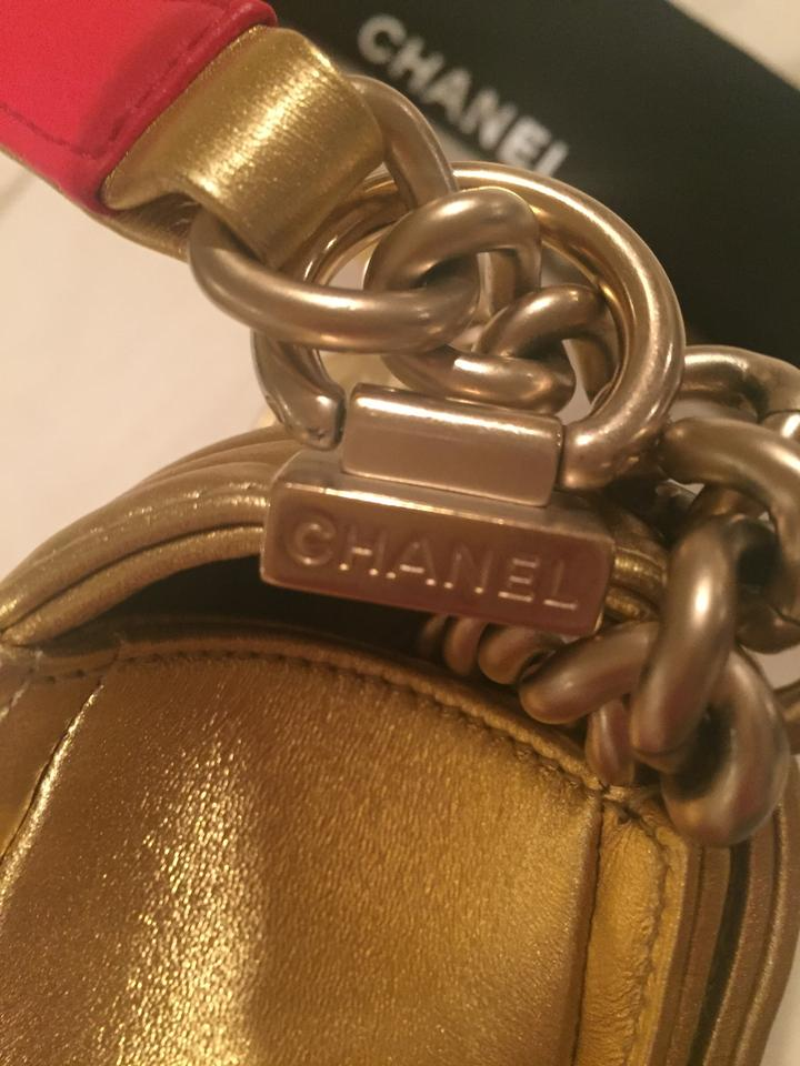 6a299c4dd1f389 Chanel Classic Flap Boy Metallic Embossed Cube Gold/Red Leather ...