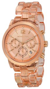 Michael Kors Rose Gold Case Crystal Accent Clear Blush Bracelet Designer watch
