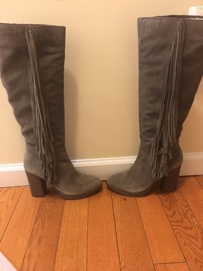 Steve Madden Suede Chunky Heel Fringe Taupe Boots
