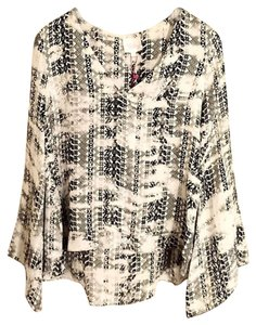 Parker Ivory Layered Silk Printed Top Black and white
