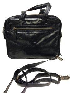 Latico Black Leather Messenger Bag