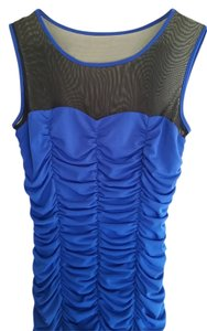 Other Ruching Mesh Top Blue