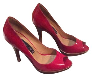 Steve Madden Steven Peep Toe Patent Leather Red Platforms