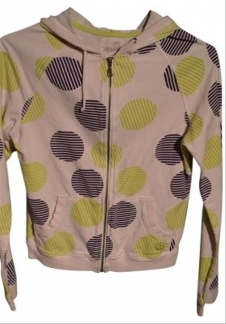 "Kirra Sunshine Zippered Size M White With 'striped Circles' In Green And Navy Euc 18"" Underarm To Underarm (laying Flat) $12.00 Sweatshirt"
