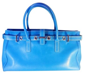 Nordstrom Leather Oversized Satchel in cornflower blue