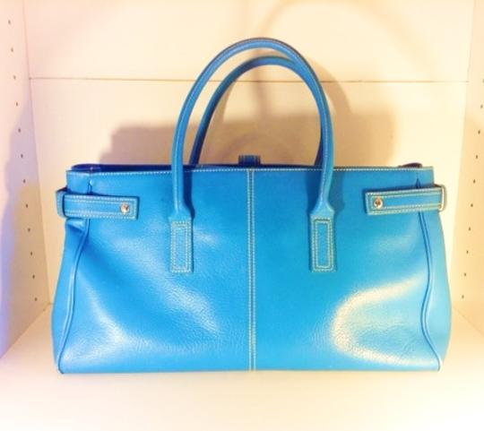 Nordstrom Leather Oversized Lightweight Satchel in cornflower blue