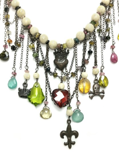 Kinley Sterling silver Tourmaline and Sandstone Kinley Charm necklace Image 3