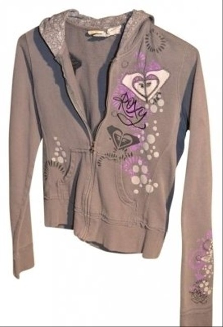 ROXY Zippered Size S Grey With Multi Of Black Light Grey 19 Sweatshirt
