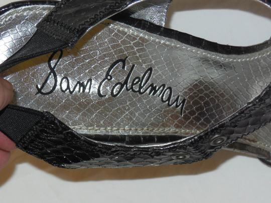 Sam Edelman Rocker Snakeskin Leather Heels Sexy Clubbing Black & Gray Sandals