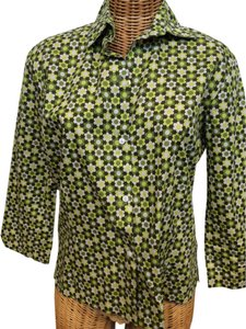 Love-LifeFelice Pappas Flower 3/4 Sleeve Button Front Button Down Shirt greens