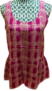 Fossil Shirt Blouse Peplum Magenta Geometric Print Sleeveless Top Pink