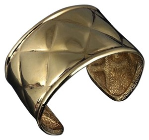 Chanel Gold Quilted Cuff Bracelet