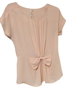 Bellatrix Bow Pink Pleated Top Blush