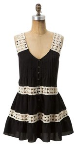 Anthropologie Crochet Black And Black Top Black, White