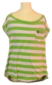 Abercrombie & Fitch T Shirt Lime green & white striped.
