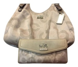Coach Satchel in Tan Gold Silver