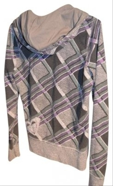Roxy Zippered Size L Dark & Light Grey With Mauve Plaid Measurements Are 20 Sweatshirt