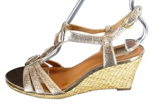 Clarks Leather Wedge Beads Gold Sandals