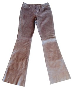 Guess Genuine Leather Leather Boot Cut Pants Brown