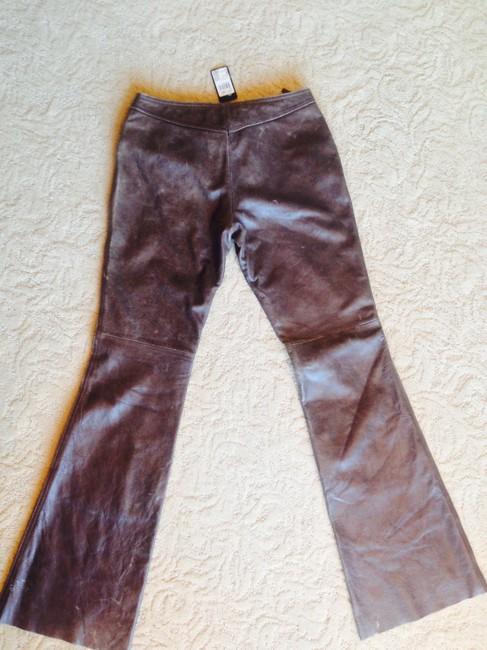 Guess Genuine Leather Leather Distressed Leather Leather Vintage Lace Up Lace Up Fly Lamb Skin Boot Cut Pants Brown