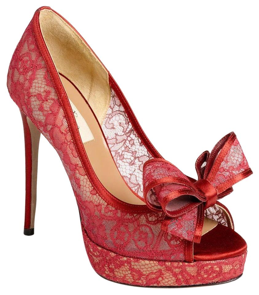 613cf80b5 Valentino Red Lace Bow Peep Toe Pumps Size EU 38.5 (Approx. US 8.5 ...