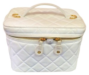 Chanel Chanel Large White Lamskin Quilted CC Make-up Bag w/ Shoulder Strap Price Drop! Hurry Offer Ends Soon!
