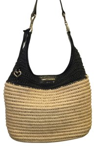 Brighton Tote in Straw And Black Leather
