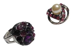 Snap Button 2 Adjustable Ring W/ 2 Crystal Snap Buttons J2042