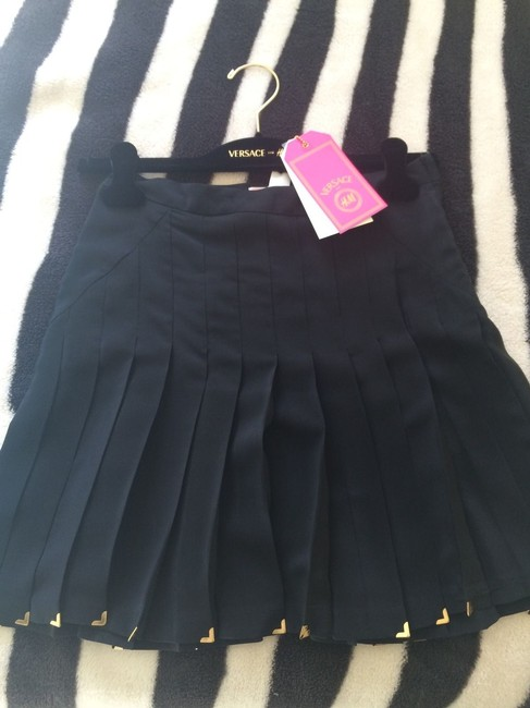 Versace for H&M Limited Edition Silk Pleated Skater High Waisted Skirt Black