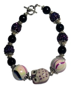 New Handmade Glass Crystal Bracelet Purple Silver Owl Center J2044