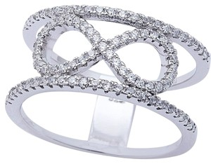 9.2.5 Rare infinity white sapphire love knot wide cocktail ring. Size 6