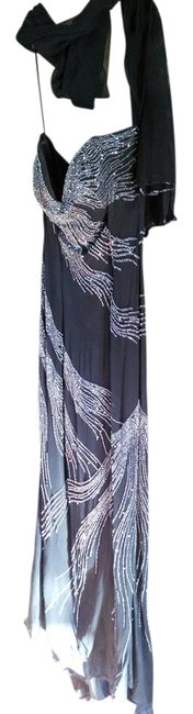 Item - Black Silver Silk Fitted Beaded Evening Sleeveless Sleek Ball Gown Prom Long Formal Dress Size 12 (L)