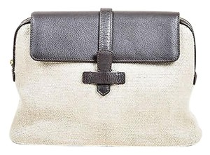 Loro Piana Beige Woven Canvas Brown Clutch