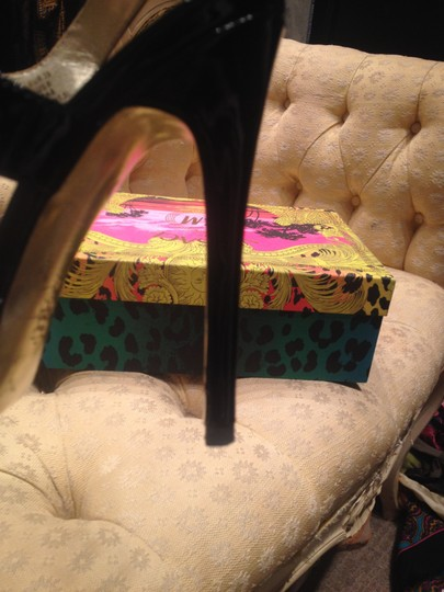 Versace for H&M Patent Leather Stiletto Strappy Heel Evening Evening Limited Edition Black Sandals Image 2
