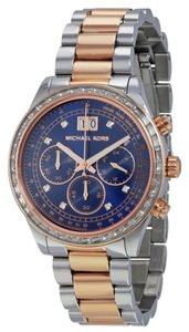 Michael Kors Rose Gold and Silver tone Stainless Steel Navy Blue Dial Crystal Accent Designer Watch