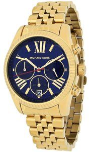 Michael Kors Gold tone Stainless Steel Navy Blue Dial Designer Fashion Watch
