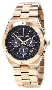 Michael Kors Black Dial Rose Gold Stainless Steel Casual Sport Designer Watch